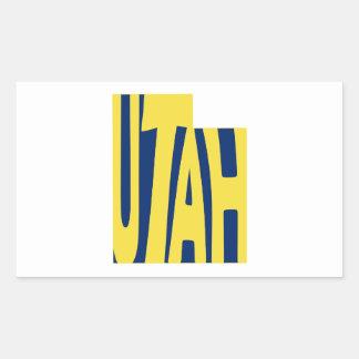 Amarillo del arte de la palabra del nombre del pegatina rectangular