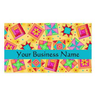 Amarillo del arte del bloque del edredón de tarjetas de visita