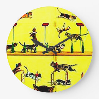 Amarillo del arte del poster del circo del vintage relojes de pared