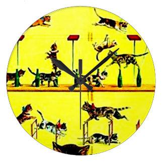 Amarillo del arte del poster del circo del vintage reloj redondo grande