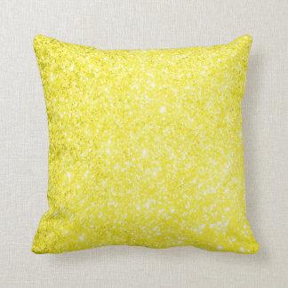 Amarillo del brillo cojín