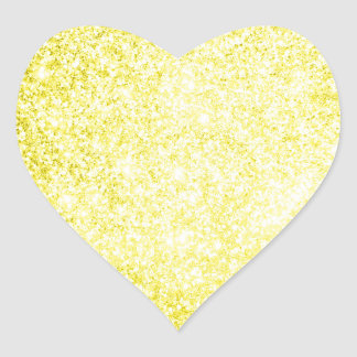 Amarillo del brillo pegatina en forma de corazón