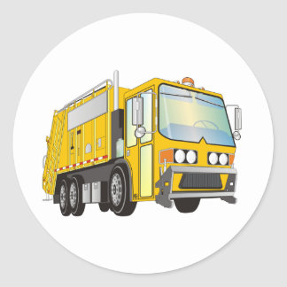 amarillo del camión de basura 3d pegatina redonda