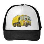 Amarillo del camión de basura del dibujo animado gorras de camionero