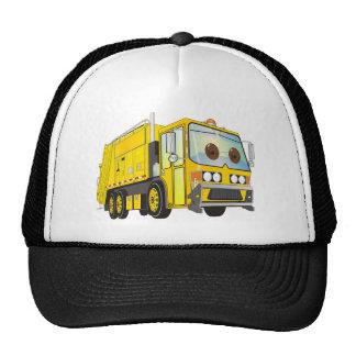 Amarillo del camión de basura del dibujo animado gorros bordados