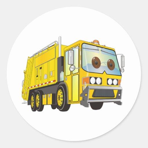 Amarillo del camión de basura del dibujo animado pegatinas redondas