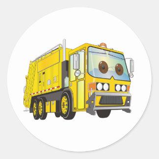 Amarillo del camión de basura del dibujo animado pegatina redonda