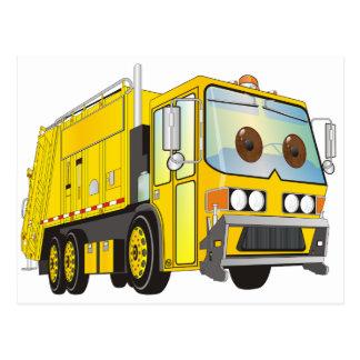 Amarillo del camión de basura del dibujo animado postal