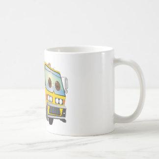 Amarillo del camión de basura del dibujo animado tazas
