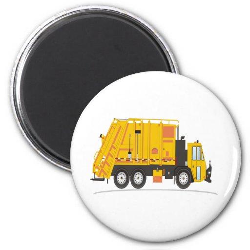 Amarillo del camión de la basura iman de frigorífico