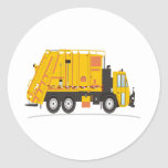 Amarillo del camión de la basura pegatina redonda