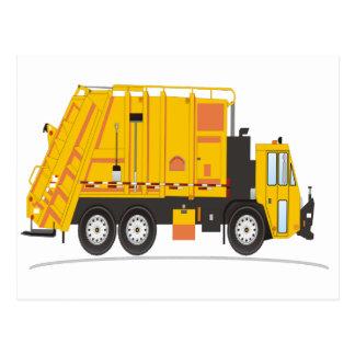 Amarillo del camión de la basura postales