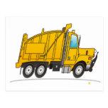 Amarillo del camión volquete postal