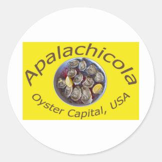 Amarillo del capital de la ostra de Apalachicola Pegatina Redonda