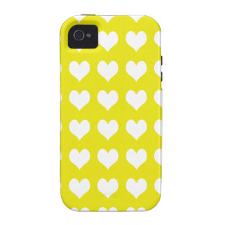 amarillo del caso del iPhone 4 con los corazones b Vibe iPhone 4 Carcasa
