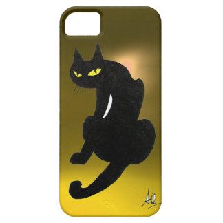 Amarillo del CAT NEGRO iPhone 5 Case-Mate Protector