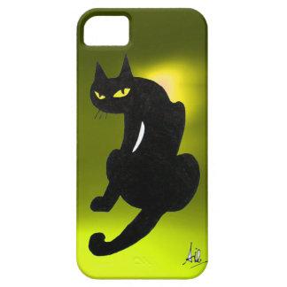 Amarillo del CAT NEGRO iPhone 5 Carcasa