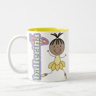 Amarillo del chica de la bailarina taza de café