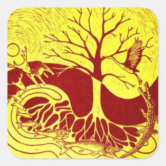 Amarillo del ciclo de la naturaleza calcomania cuadrada personalizada