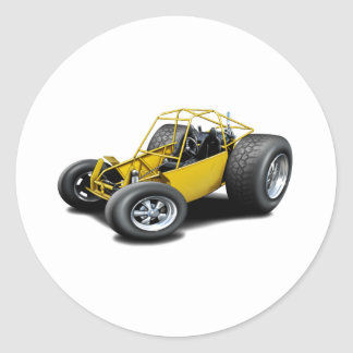 Amarillo del coche de playa pegatina redonda