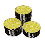 Amarillo del copo de nieve 15 juego de fichas de póquer