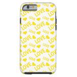 Amarillo del corazón 1 del amor funda de iPhone 6 tough