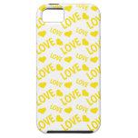 Amarillo del corazón 1 del amor iPhone 5 funda
