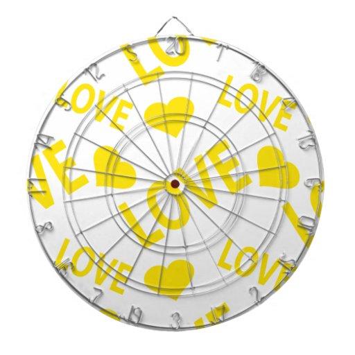 Amarillo del corazón 1 del amor tablero dardos