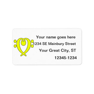 amarillo del corazón del clef bajo etiqueta de dirección