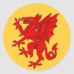 Amarillo del dragón Galés - modificado para Etiqueta Redonda
