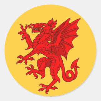 Amarillo del dragón Galés - modificado para Pegatina Redonda