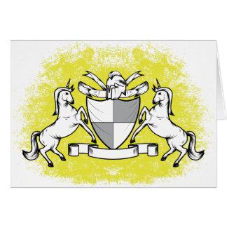 amarillo del escudo tarjeta de felicitación