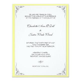 """amarillo del flourish; el casarse invitación 4.25"""" x 5.5"""""""
