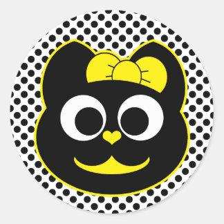 Amarillo del gatito de KiKi Pegatina Redonda