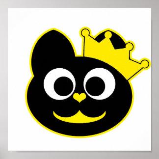 Amarillo del gatito de la reina póster