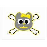 Amarillo del gatito del cráneo - gris tarjeta postal