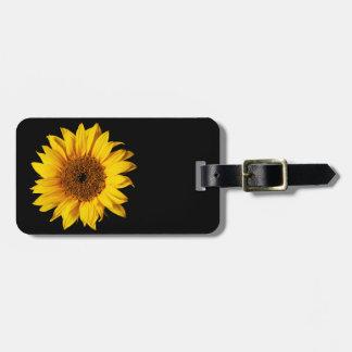 Amarillo del girasol en el negro - flores etiquetas de equipaje