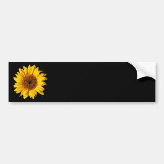 Amarillo del girasol en el negro - flores modifica pegatina para auto
