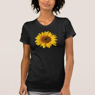 Amarillo del girasol en el negro - flores modifica camiseta