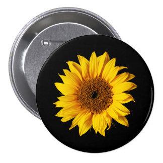 Amarillo del girasol en el negro - flores pin redondo de 3 pulgadas
