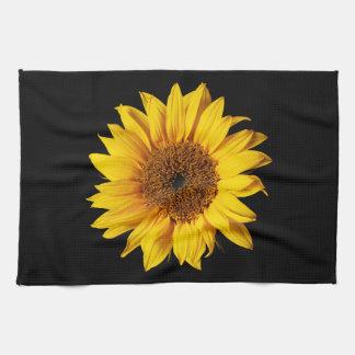 Amarillo del girasol en el negro - flores toalla de cocina