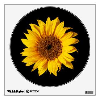 Amarillo del girasol en el negro - flores vinilo