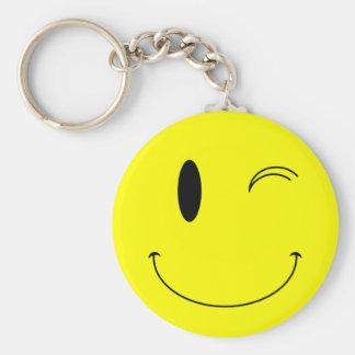 Amarillo del KRW que guiña la cara sonriente Llavero Redondo Tipo Pin
