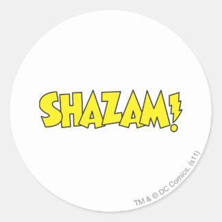 Amarillo del logotipo de Shazam Pegatina Redonda