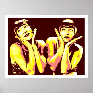amarillo del marrón del arte pop de los chicas de  impresiones