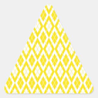 Amarillo del modelo 2 de Argyle Pegatina Triangular