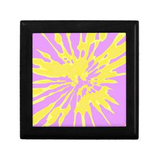 Amarillo del modelo del chapoteo y diseño abstract caja de regalo