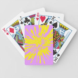Amarillo del modelo del chapoteo y diseño abstract baraja cartas de poker