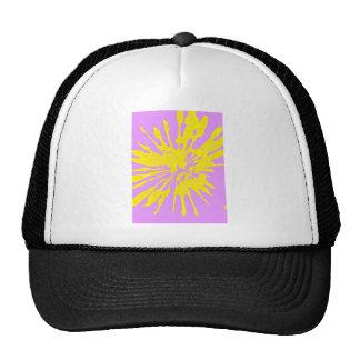Amarillo del modelo del chapoteo y diseño abstract gorros