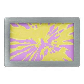 Amarillo del modelo del chapoteo y diseño abstract hebilla cinturón rectangular